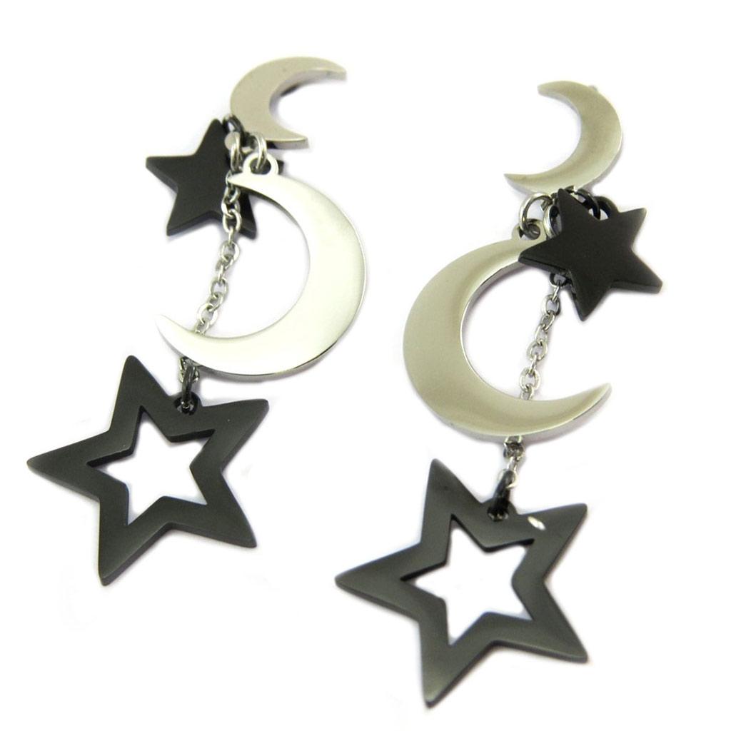 Boucles créateur acier \'Lune Etoilée\' argenté noir - 43x15 mm - [P7807]