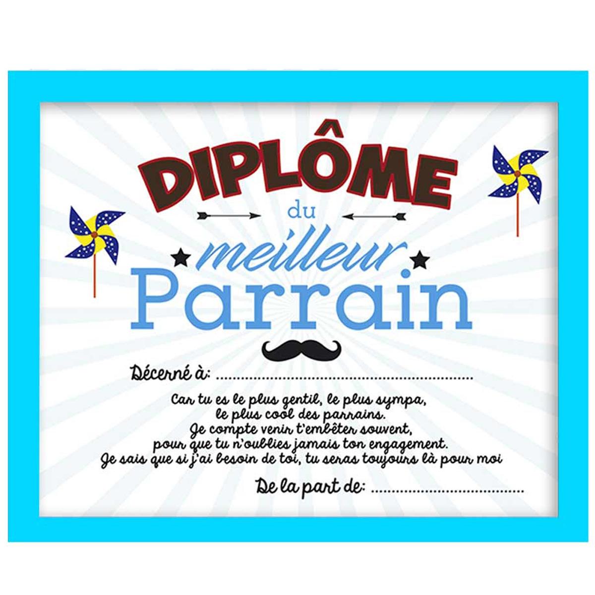 Cadre \'Diplôme du Meilleur Parrain\' bleu blanc - 25x20x15 cm - [A0343]