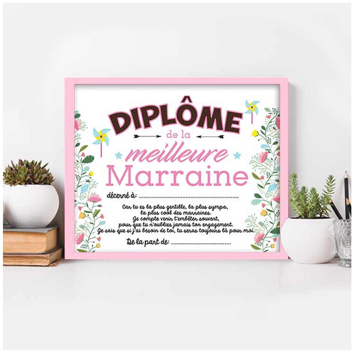 Cadre \'Diplôme de la Meilleure Marraine\' rose blanc - 25x20x15 cm - [A0344]