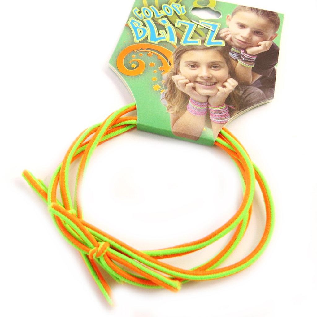 3 bracelets élastiques \'Coloriage\' vert orange - [M5343]