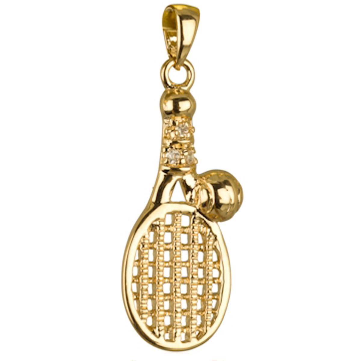 Pendentif Plaqué Or \'Passion Tennis\' (raquette) blanc doré - 25x10 mm - [M6982]