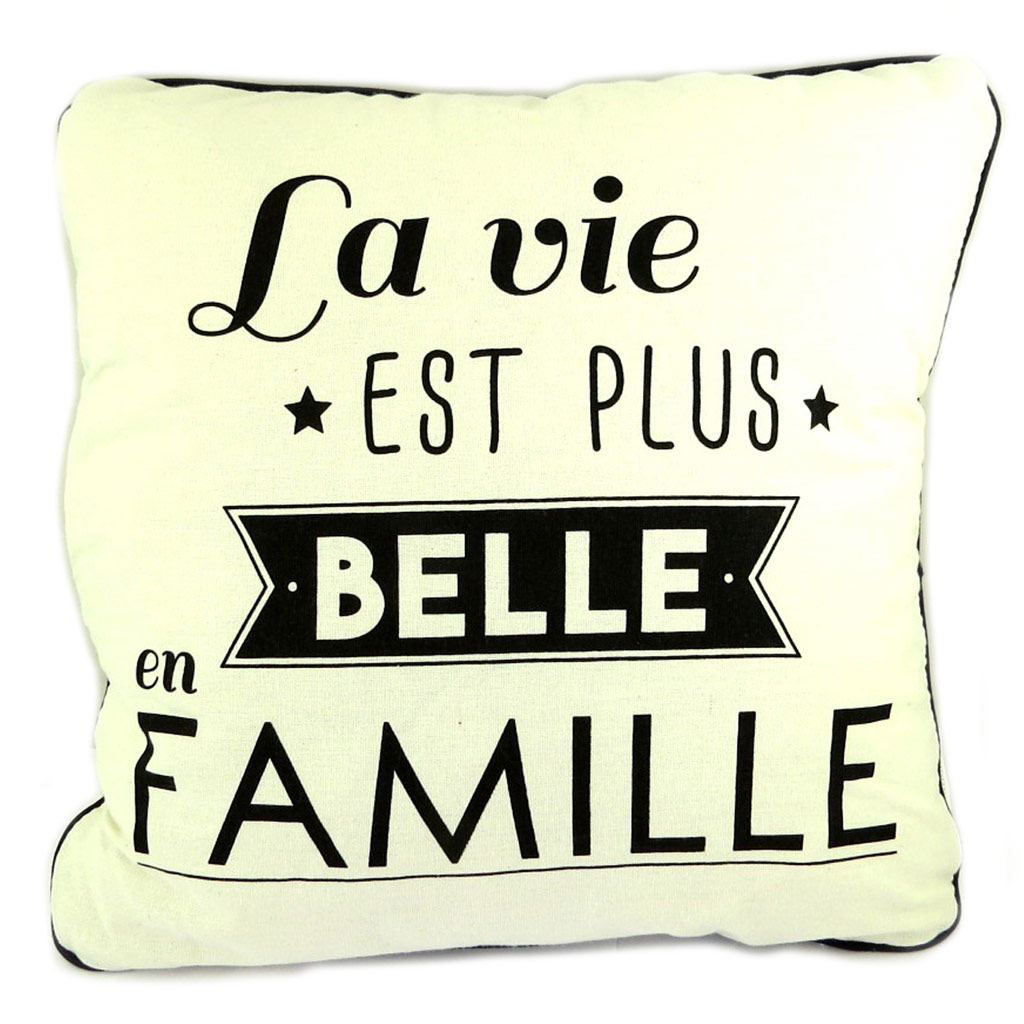 Coussin créateur \'Citations\' beige (La vie est plus belle en Famille) - 35 cm - [P8898]