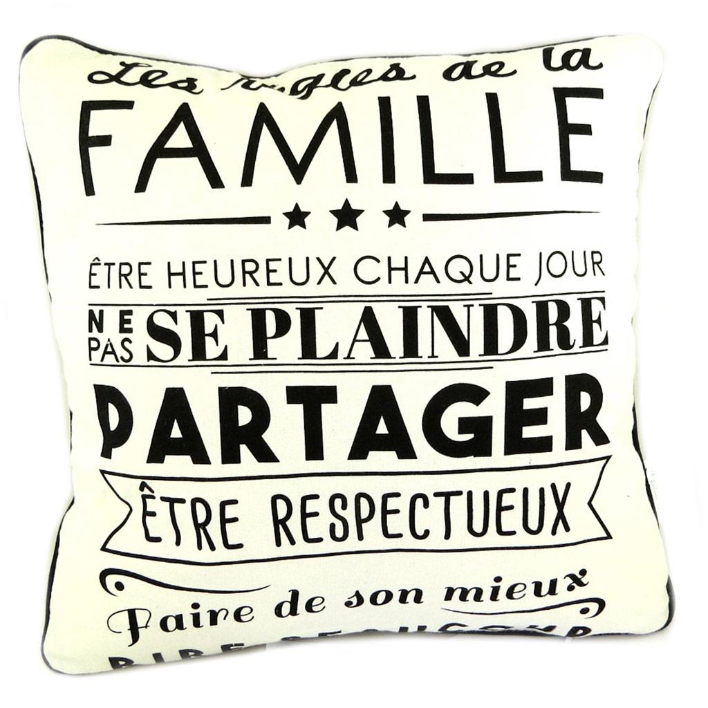 Coussin créateur \'Citations\' beige (Les règles de la Famille ) - 35 cm - [P8900]