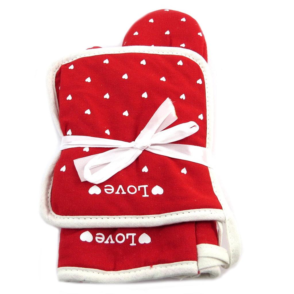 Set de gant + manique \'Love\' rouge beige (coeurs) - 29x16 cm - [P8920]
