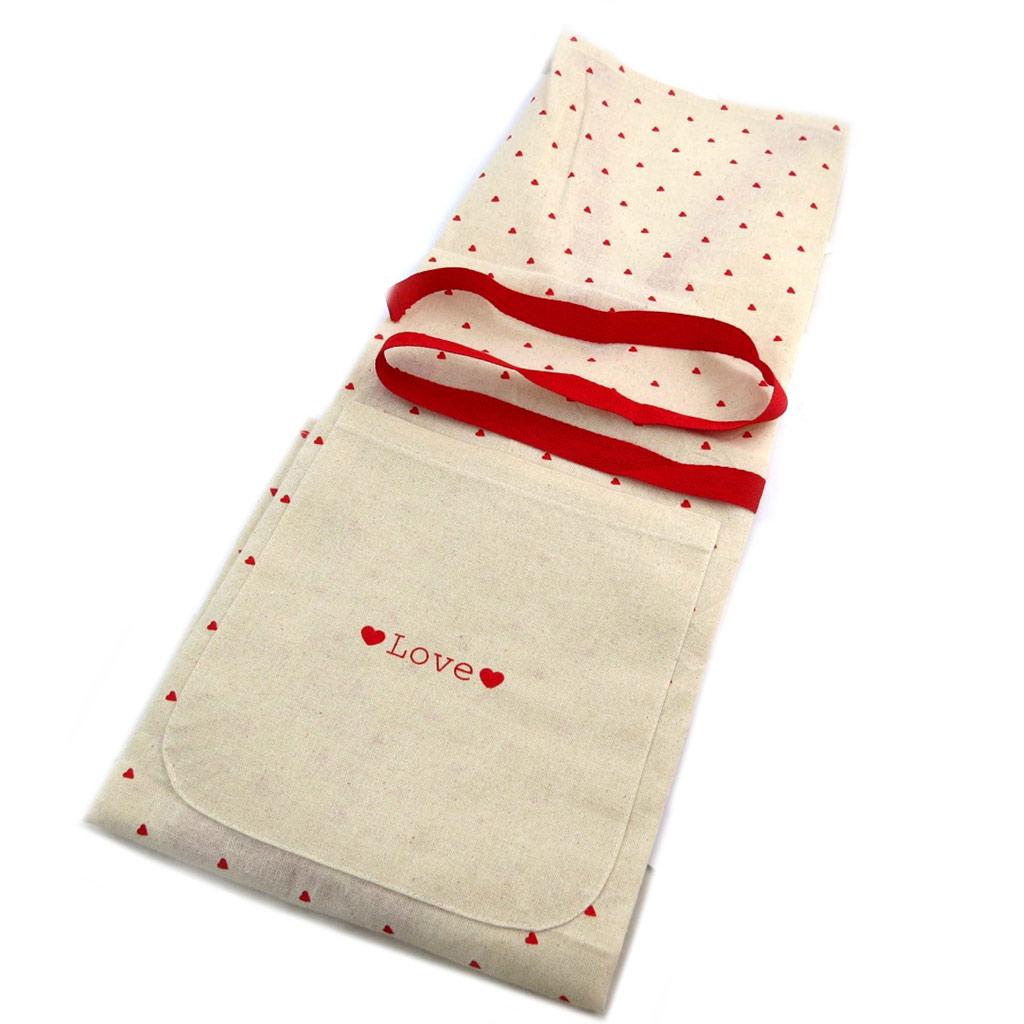 Tablier de cuisine \'Love\' beige rouge (coton) - 80x67 cm - [P8921]