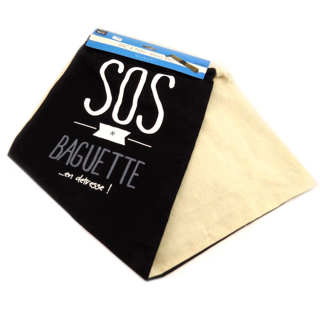 Sac à pain \'Messages\' noir beige (\'Sos baguetteen détresse!\') - 70x27 cm - [P8965]