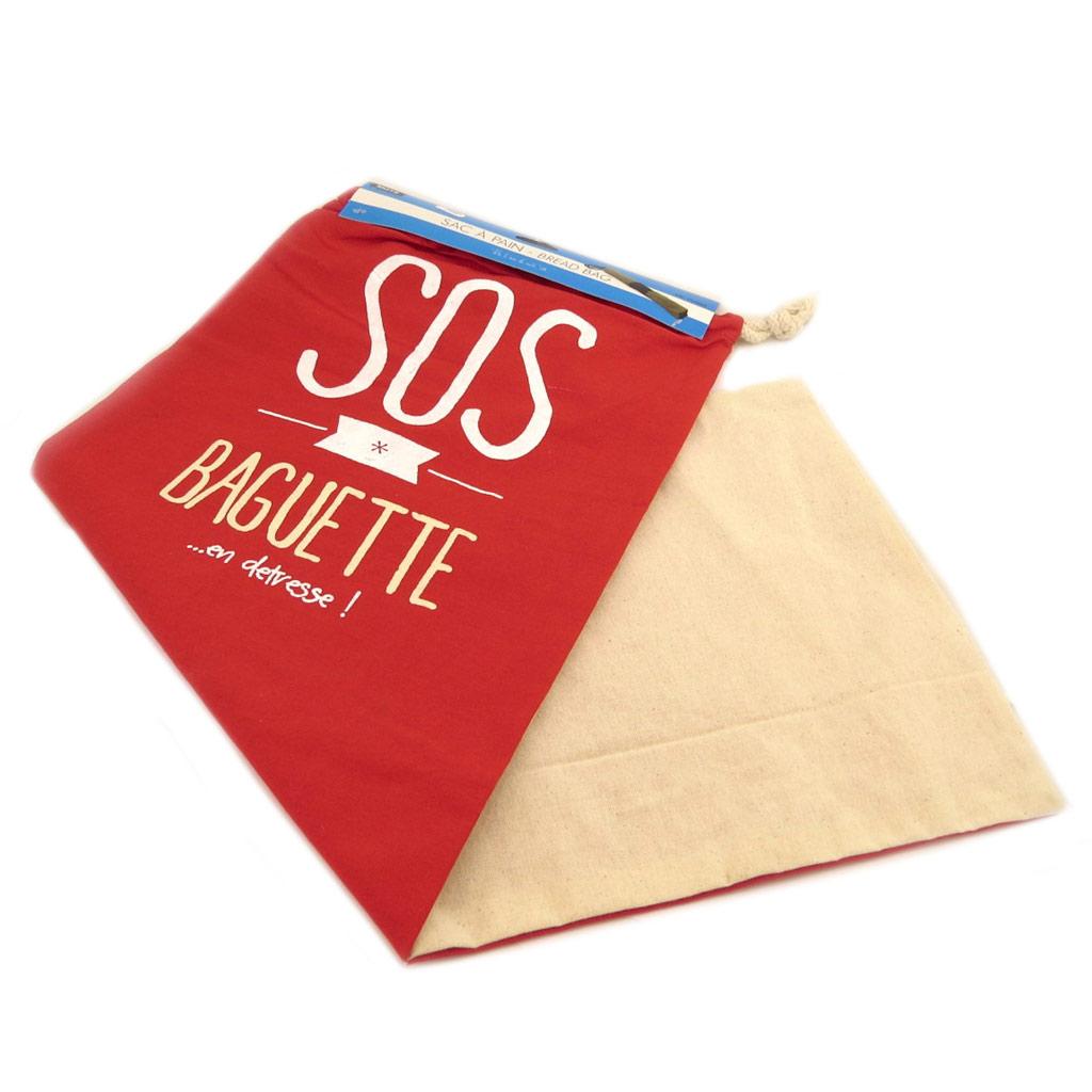 Sac à pain \'Messages\' rouge beige (\'Sos baguetteen détresse!\') - 70x27 cm - [P8967]