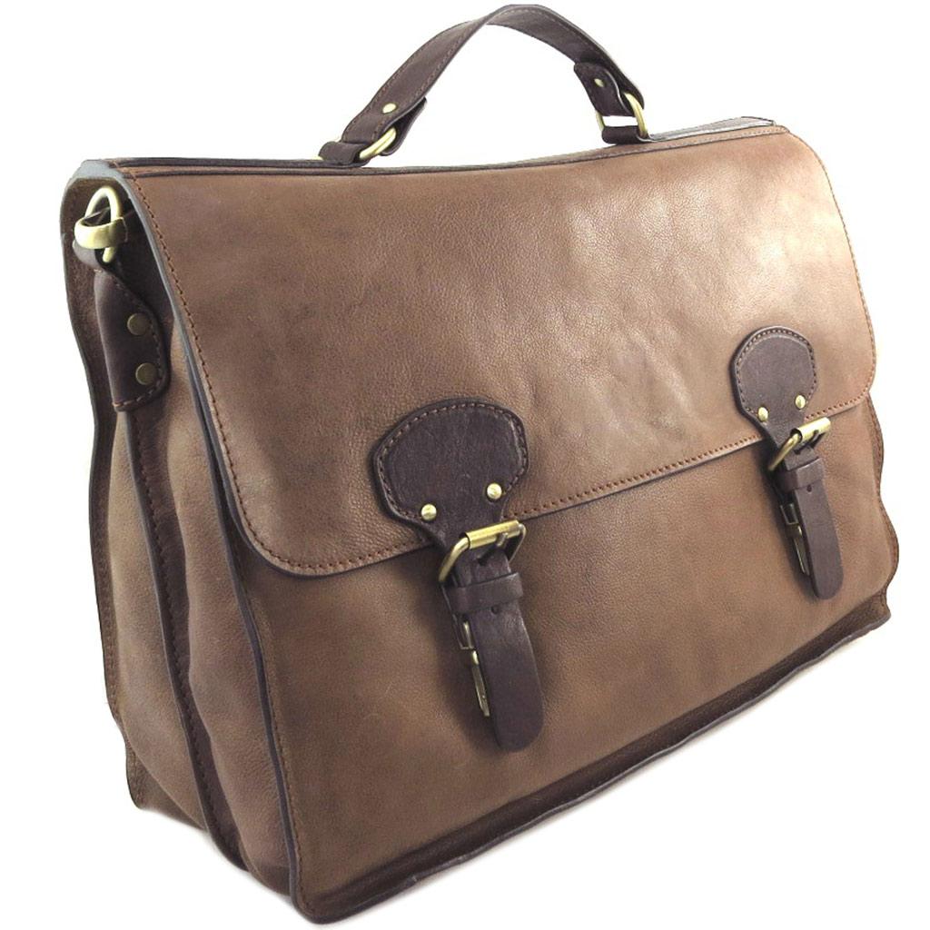 Sac cartable cuir \'Gianni Conti\' marron vintage - 41x31x14 (emplacement tablette) - [P9052]