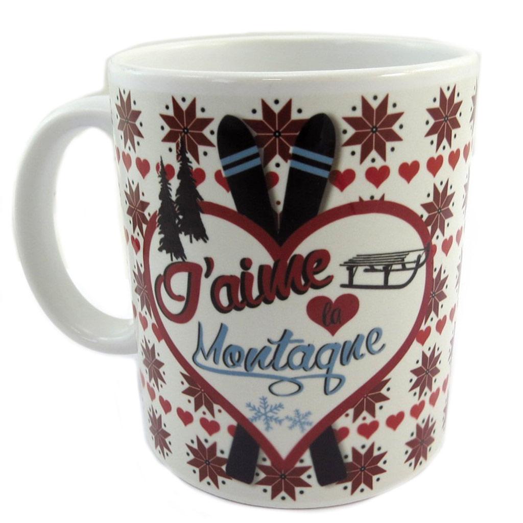 Mug céramique \'J\'aime la Montagne\' blanc rouge (Made in France) - hauteur 95 cm diamètre 8 cm - [P9086]