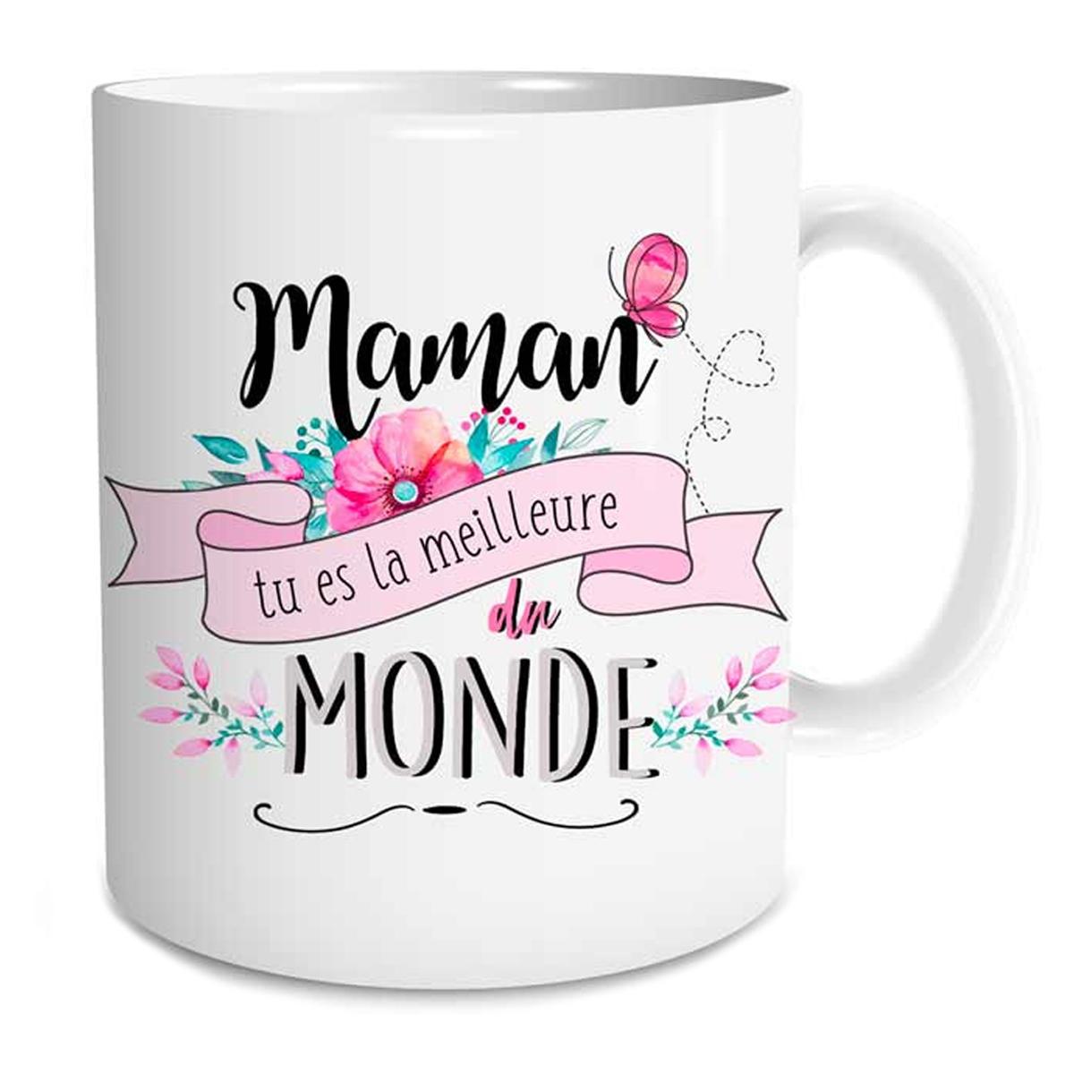 Mug tendresse \'Maman tu es la meilleure du monde\' blanc rose - [P9402]