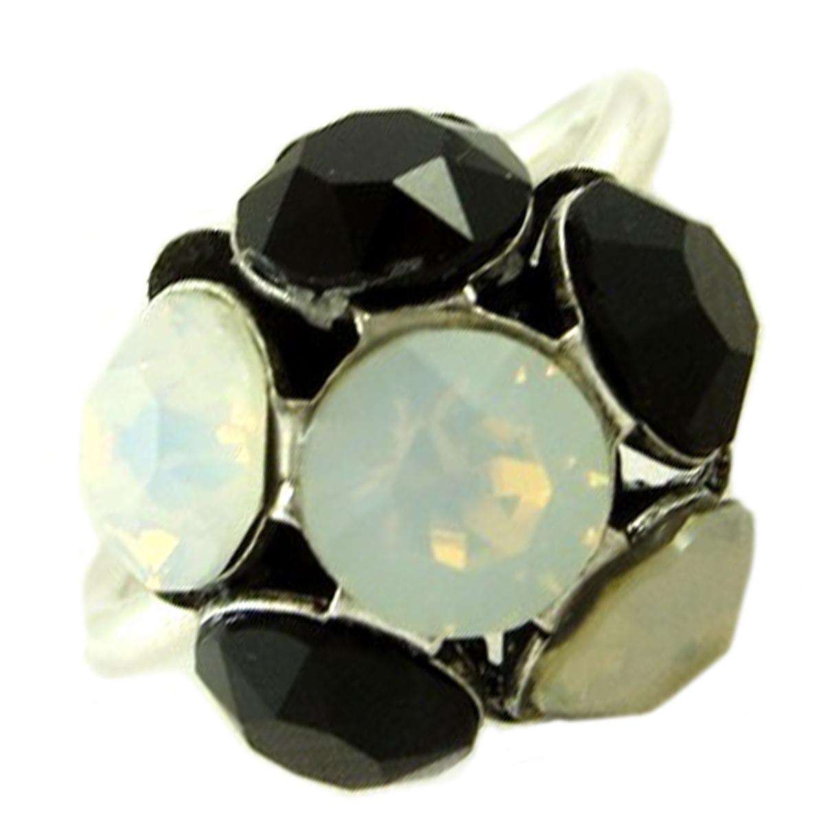 Bague artisanale \'Mythique Syracuse\' blanc noir argenté - 14 mm - [P9738]