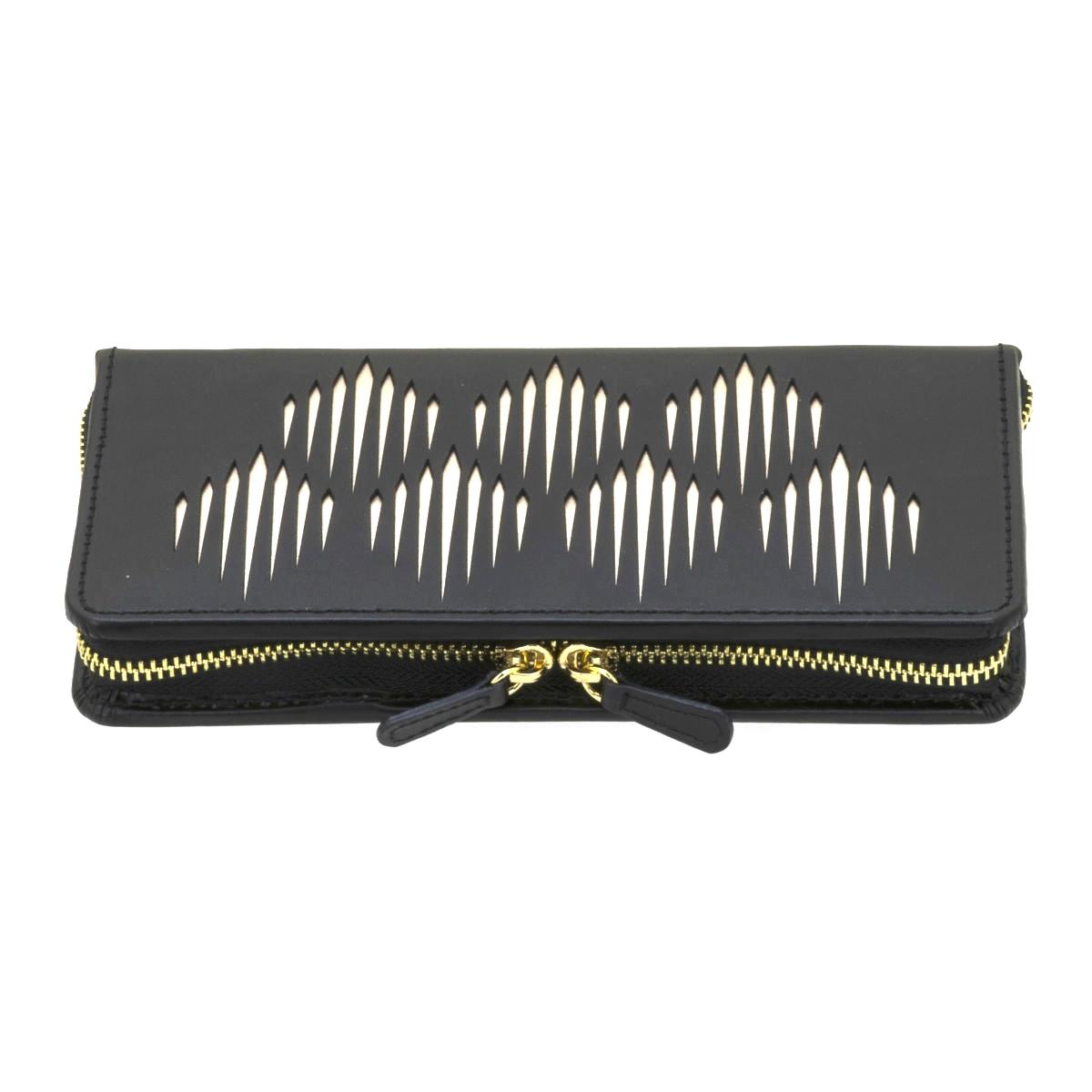 Trousse à Bijoux zippée \'Victoria\' noir - 21x10x3 cm - [Q0145]