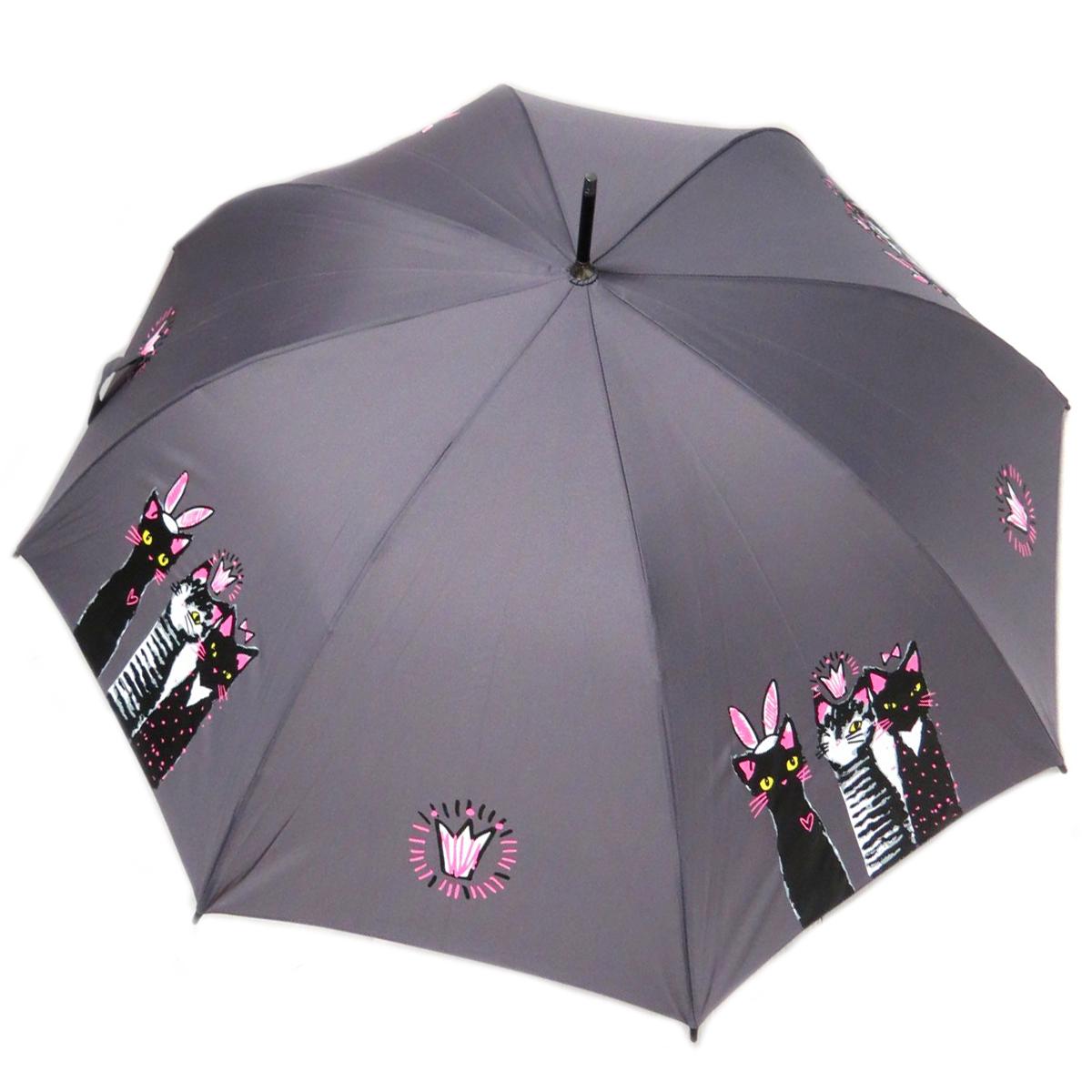 Parapluie canne \'Chats\' gris rose - 85 cm - [Q0156]