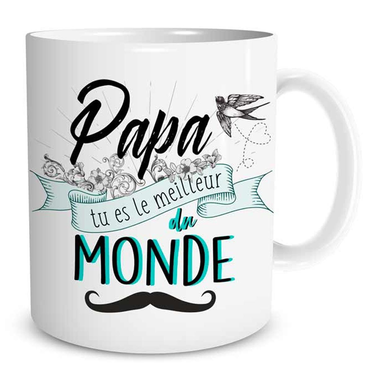 Mug tendresse \'Papa tu es le meilleur du monde\' blanc vert - [Q0272]