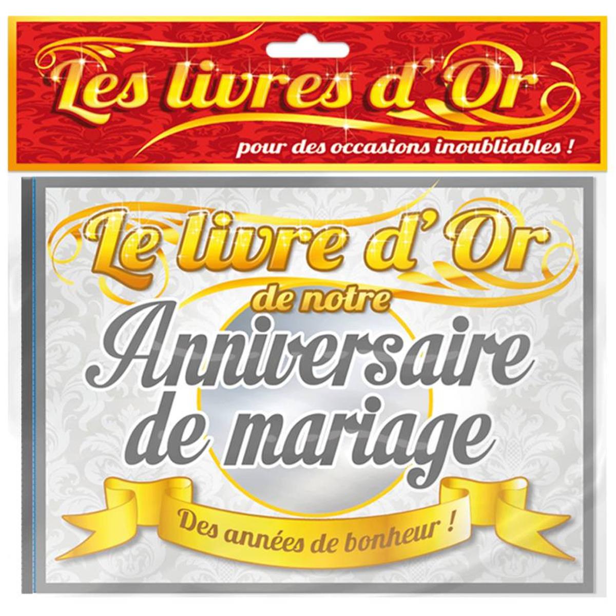 Livre d\'or \'Anniversaire de Mariage\' doré gris - 215x155 cm - [Q0286]