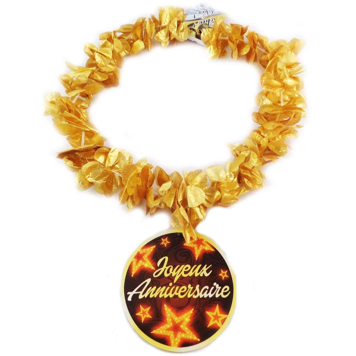 Collier de fleurs \'Joyeux Anniversaire\' doré - 15 cm - [Q0292]