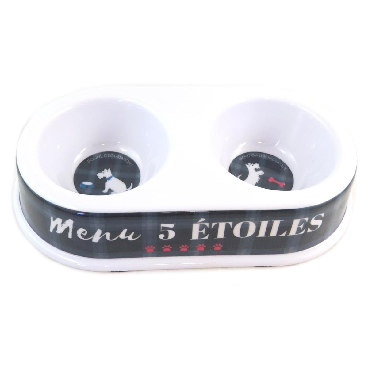 Gamelle double \'Toutou\' (menu 5 étoiles) - 24x5 cm - [Q0397]