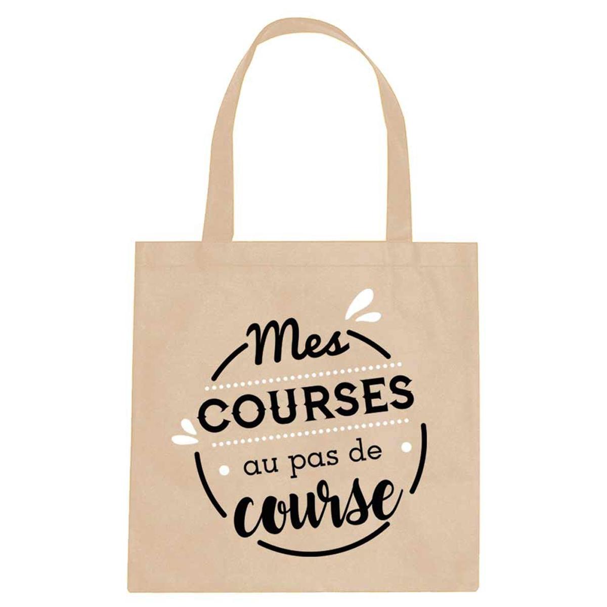 Sac coton / Tote bag \'Messages\' beige (Mes courses au pas de course) -  40x39 cm - [Q0672]