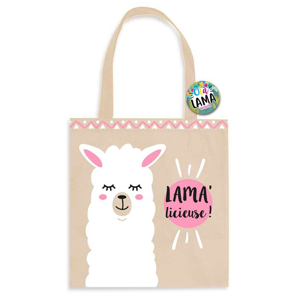 Sac coton / Tote bag \'Lama Mania\' rose beige (Lama\' licieuse) -  40x39 cm - [Q0686]
