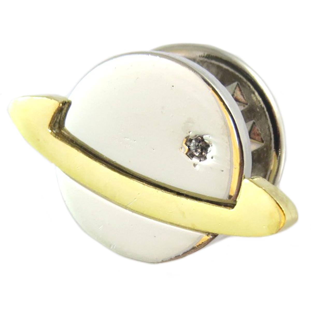 Broche pin\'s artisanal \'Saturne\' argenté doré - 18x12 mm - [Q1407]