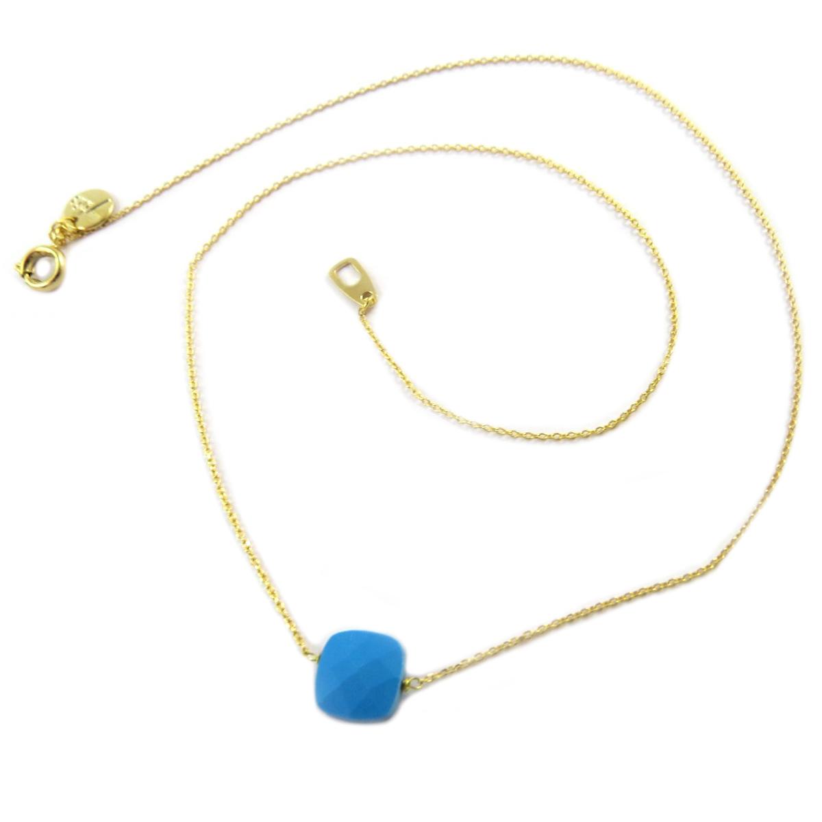 Collier artisanal \'Boho\' turquoise doré - 14x14 mm - [Q1422]