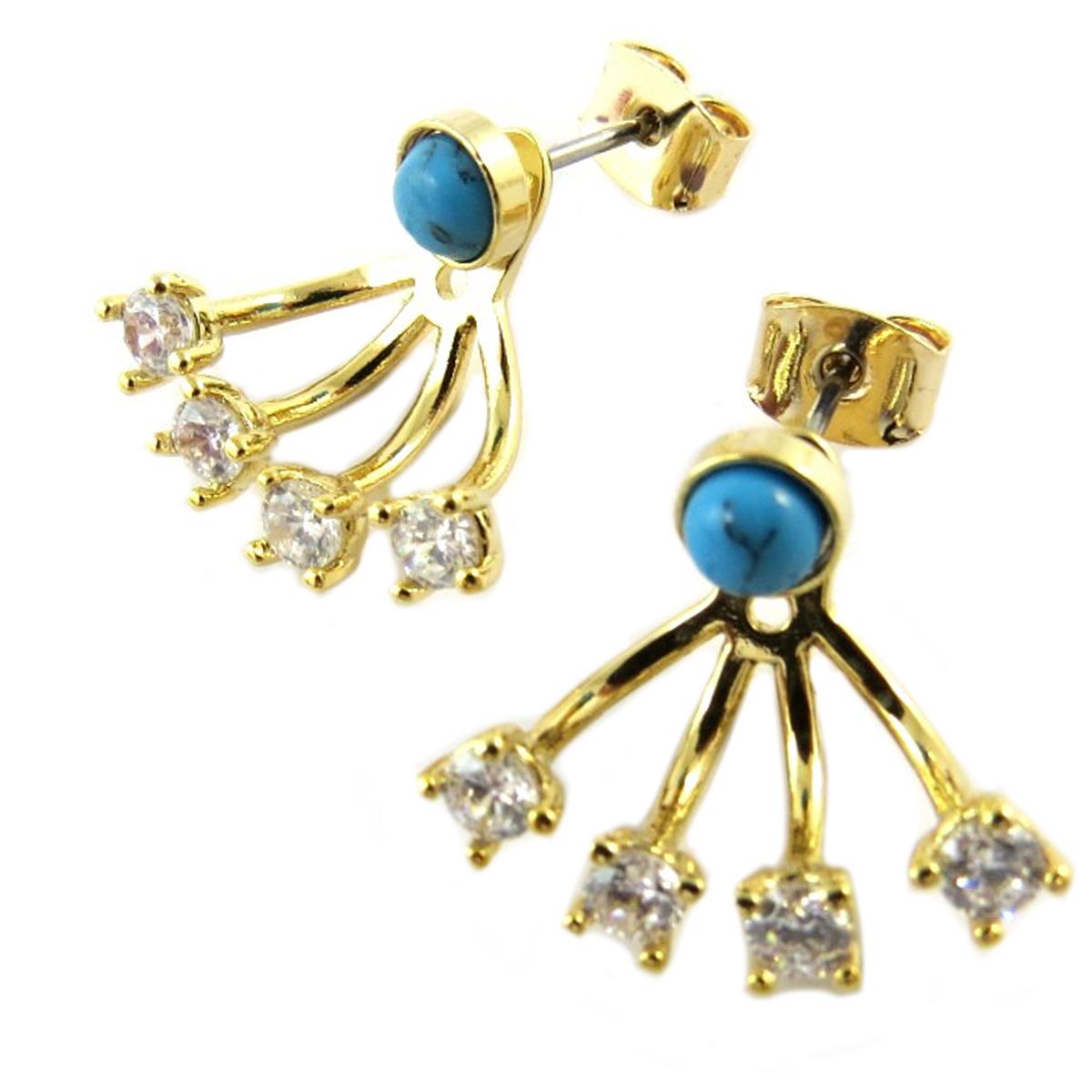 Boucles artisanales \'Boho\' turquoise doré - 16x15 mm - [Q1426]