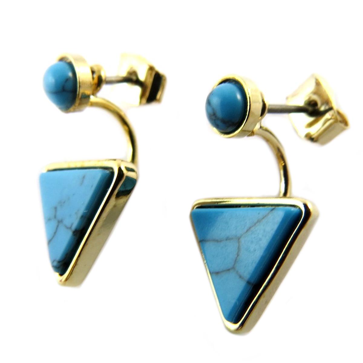 Boucles artisanales \'Boho\' turquoise doré - 11x10 mm - [Q1431]