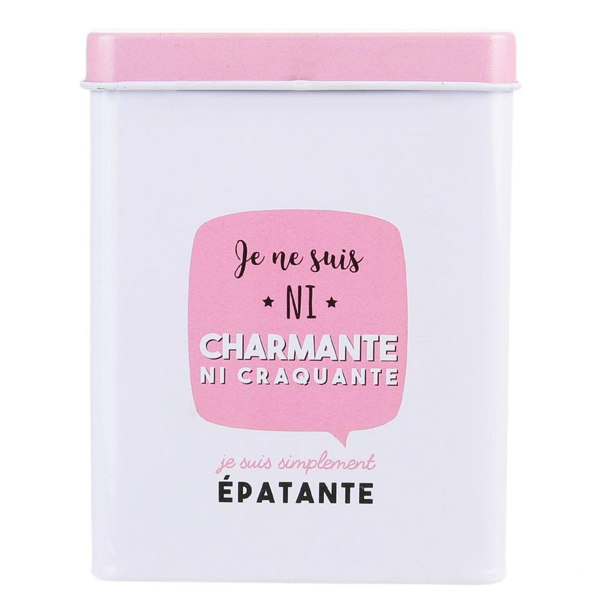 Etui métal à paquet de cigarettes \'Messages\' rose blanc (Je ne suis pas charmante ) - 24 cigarettes - [Q1671]
