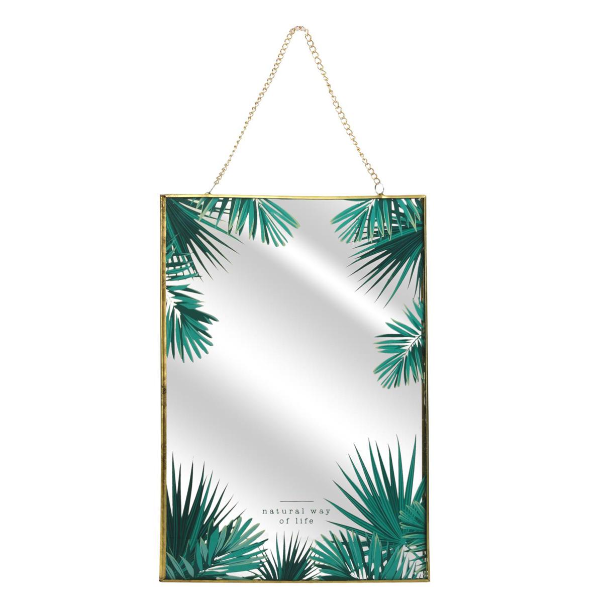 Miroir mural \'Jungle\' vert - 30x20 cm - [Q1677]