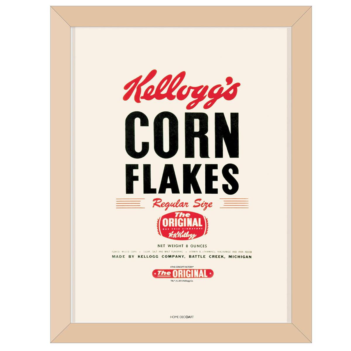 Cadre tableau bois \'Kellogg\'s\' beige (Corn Flakes) - 44x34x1 cm - [Q1702]