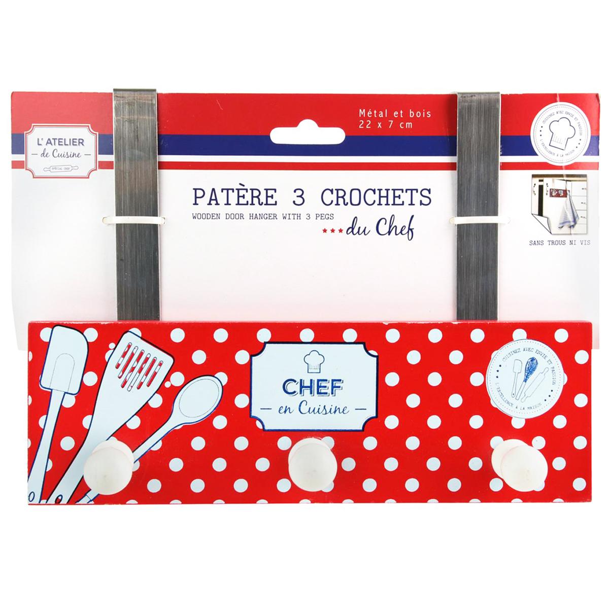 Patère accroche torchons \'L\'Atelier de Cuisine\' blanc rouge (3 crochets) - 22x7 cm - [Q1703]