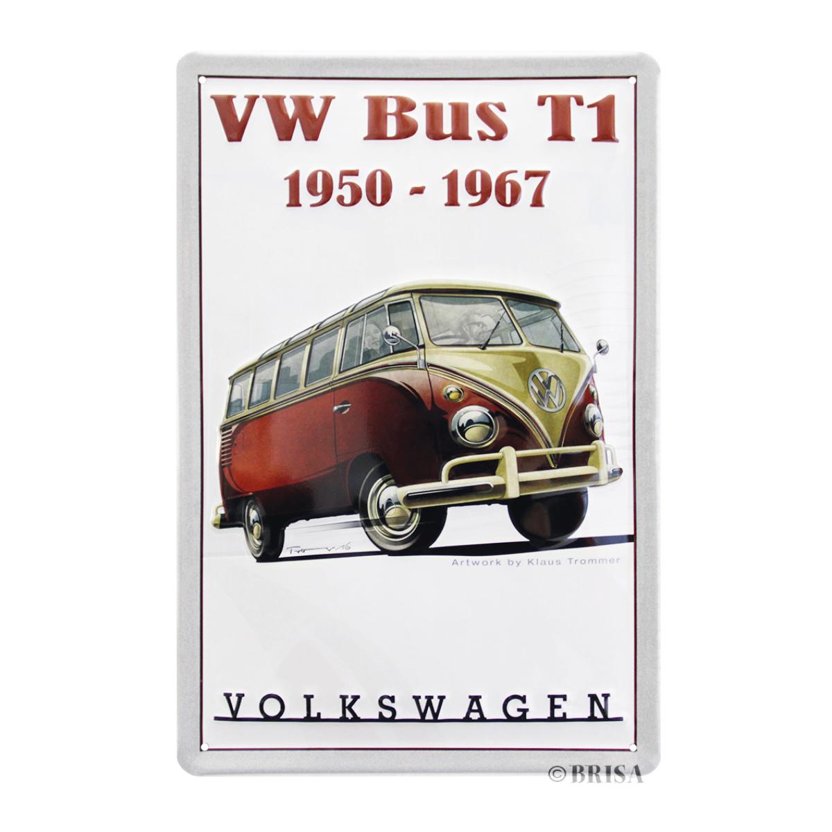 Plaque métal vintage \'Volkswagen\' rouge beige - 30x20 cm - [Q1835]