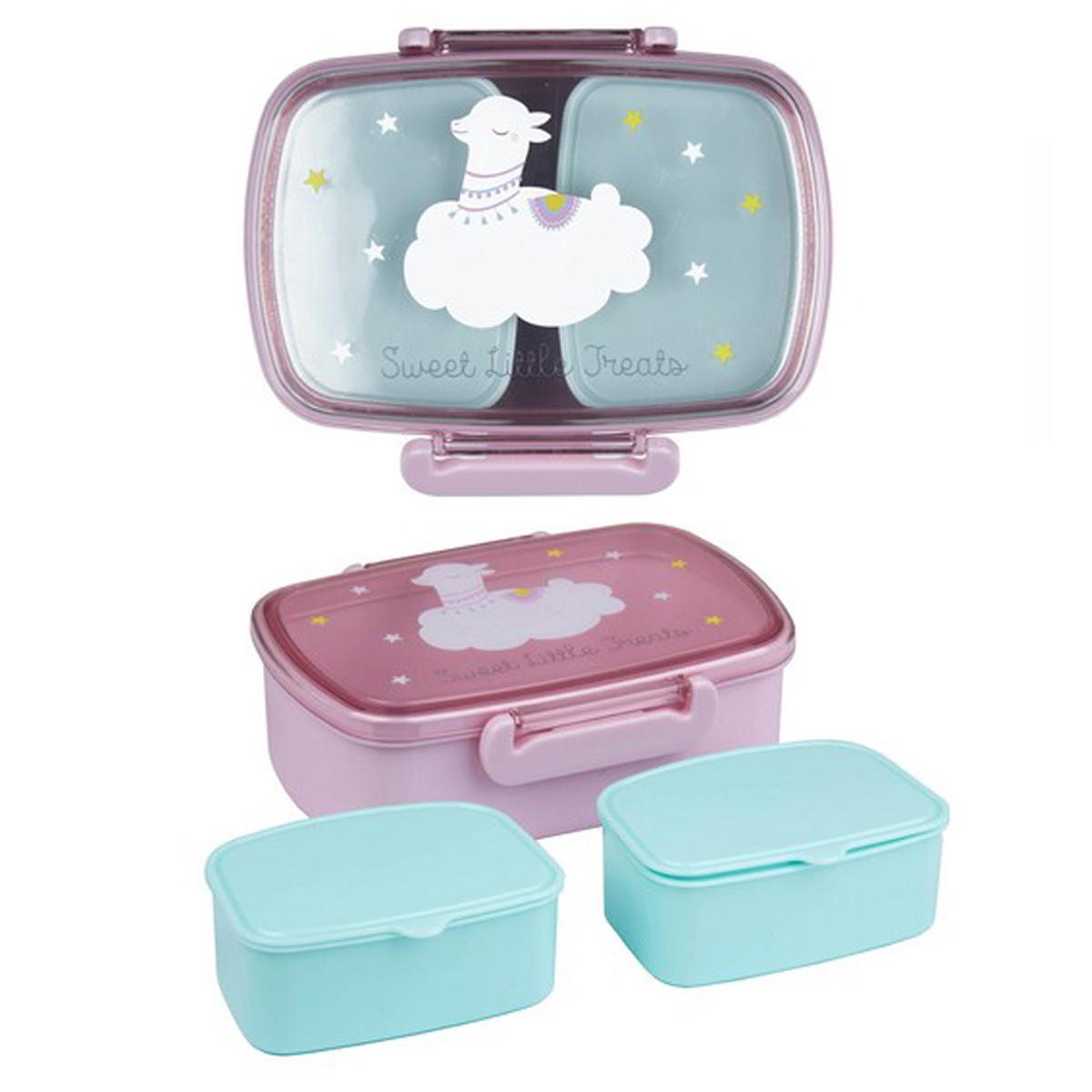 Lunch box \'Lama Mania\' violet turquoise - 178x128x58 cm - [Q2056]