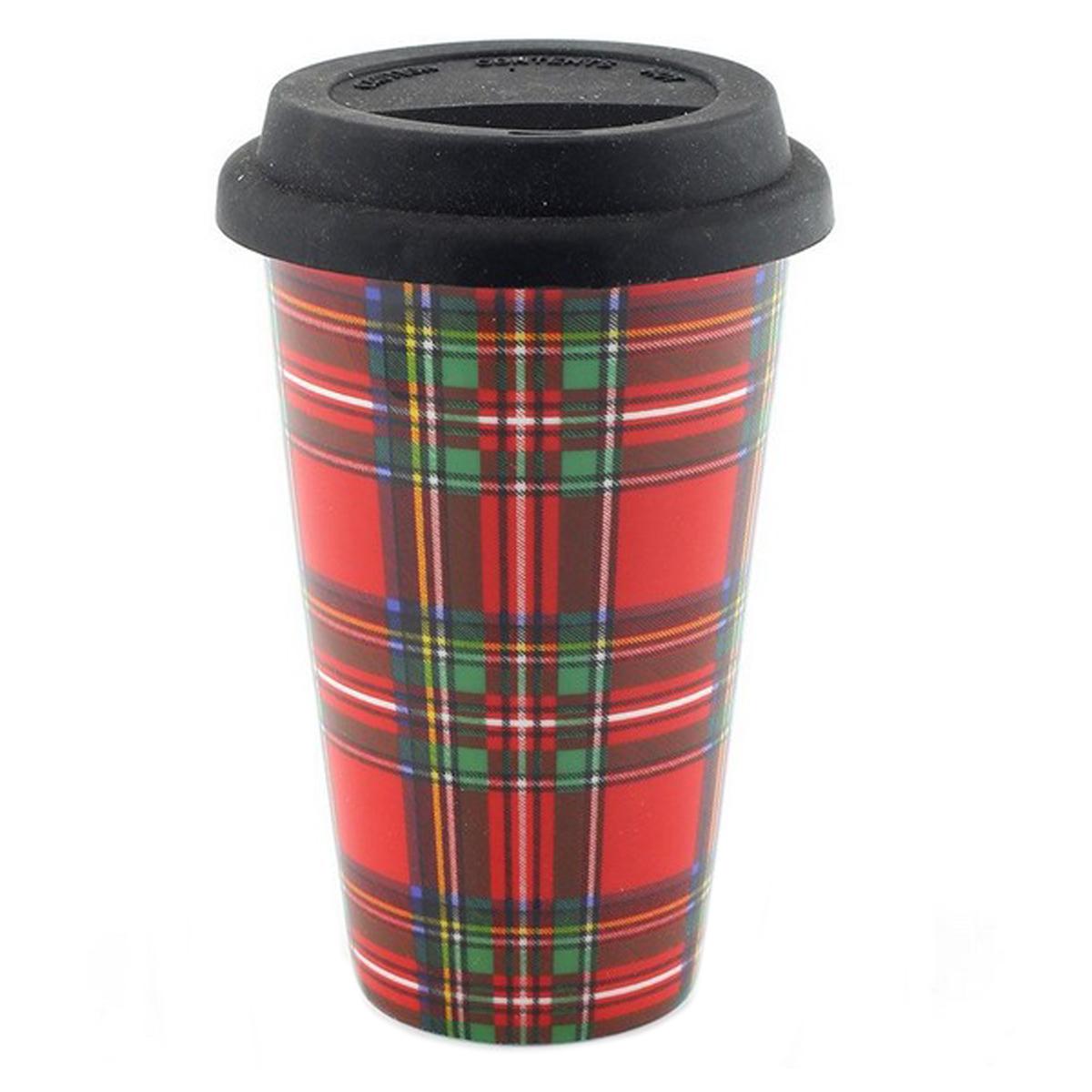 Mug de transport porcelaine \'Tartan Ecossais\' rouge - 135x9 cm - [Q2786]