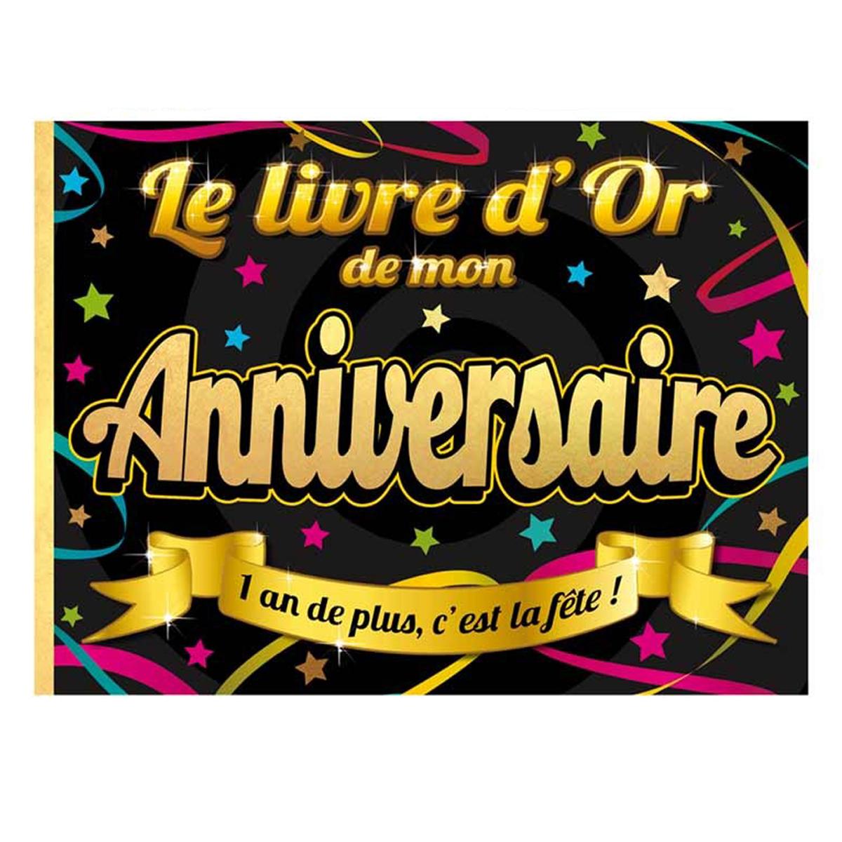 Livre d\'or \'Joyeux Anniversaire\' noir multicolore - 155x215 cm - [Q3145]