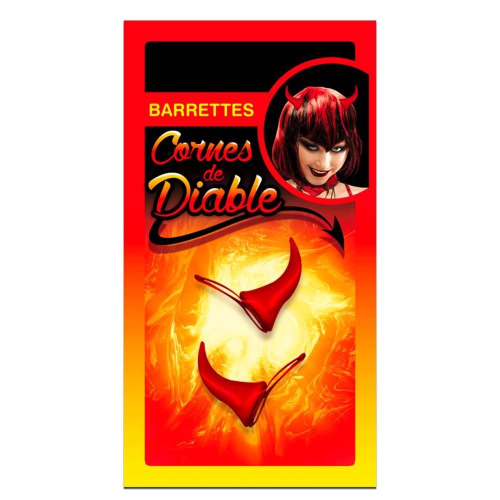 Set de 2 barrettes \'Cornes de Diable\' rouge - 45x40x20 mm - [Q3152]