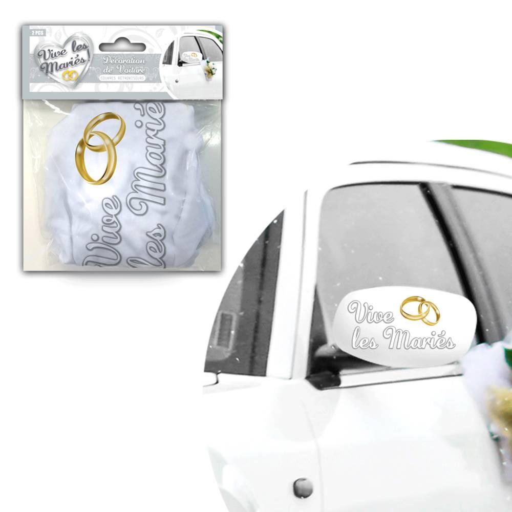 2 caches rétros décoration voiture \'Mariage\'  - [Q3154]