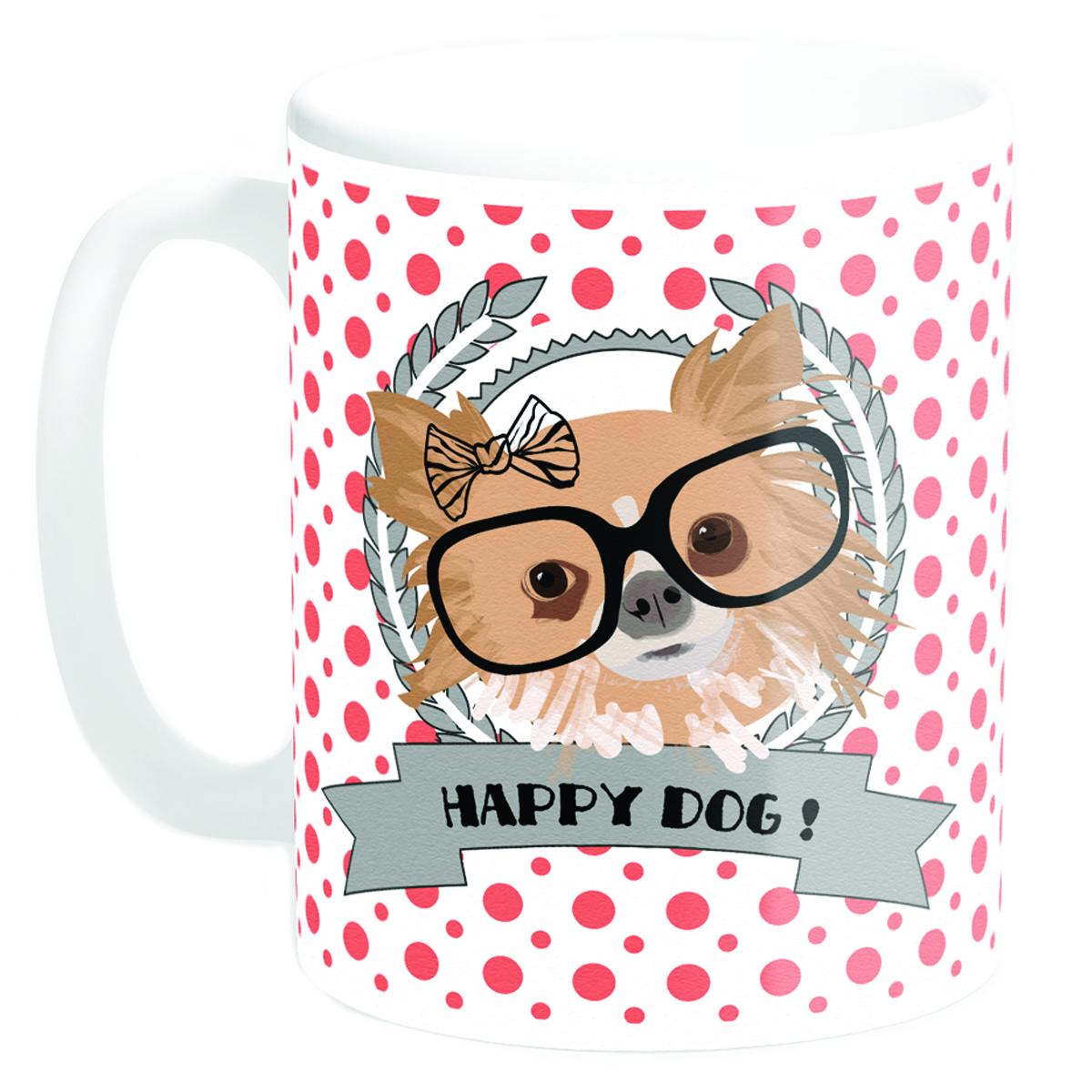 Mug céramique \'Happy Dog !\' Chihuahua (Made in France) - 95x8 cm - [Q3376]