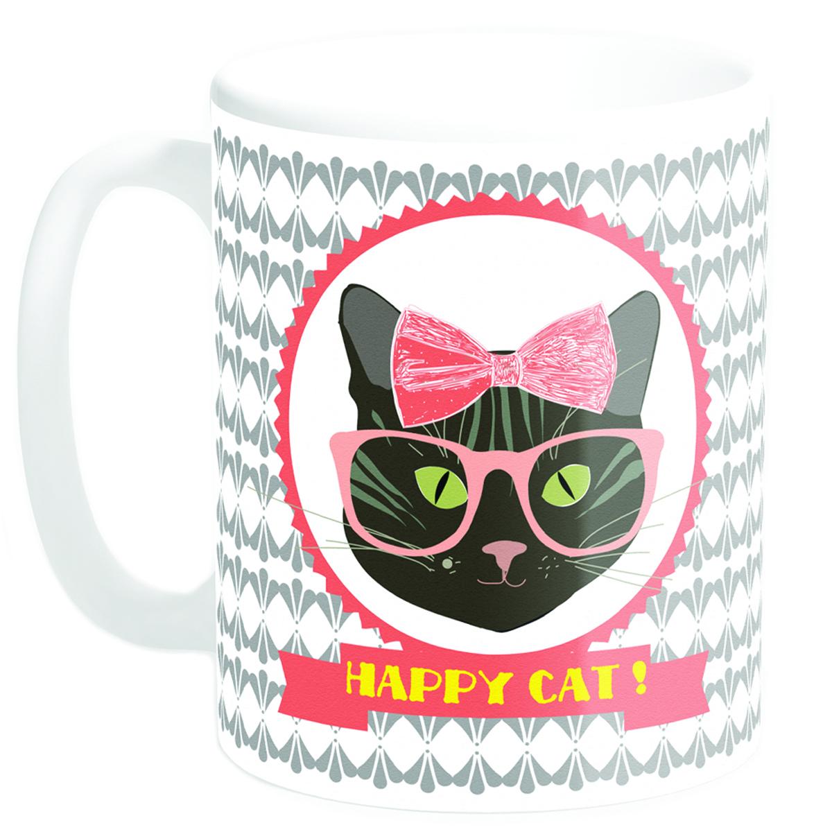 Mug céramique \'Happy Cat !\' chatte (Made in France) - 95x8 cm - [Q3378]