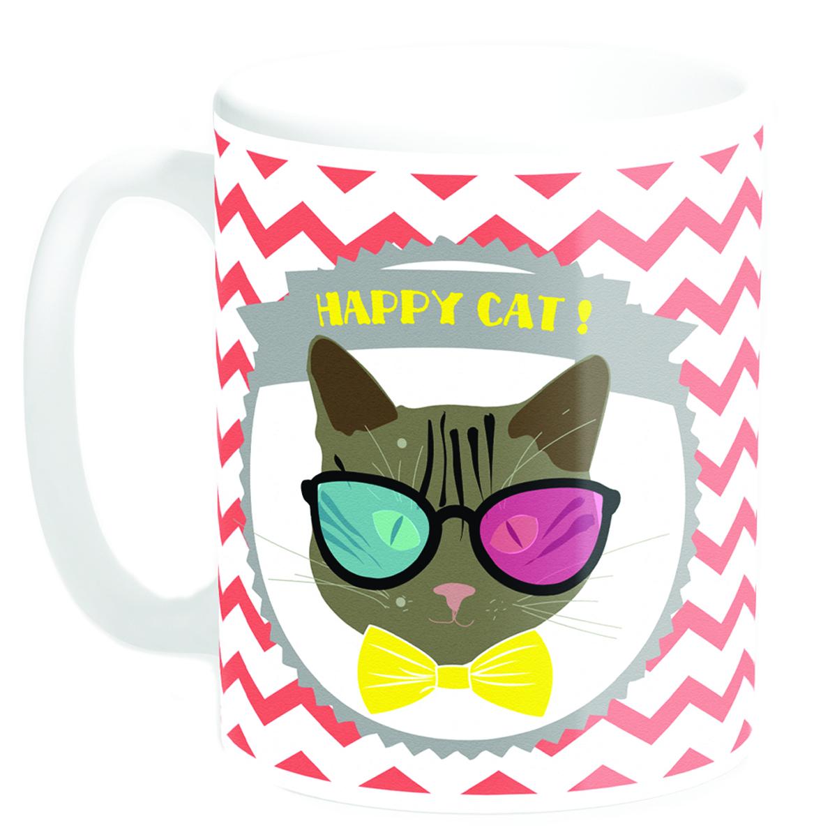 Mug céramique \'Happy Cat !\' noeud papillon (Made in France) - 95x8 cm - [Q3379]