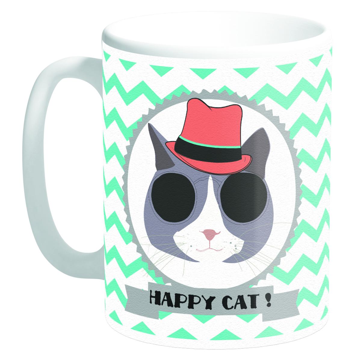 Mug céramique \'Happy Cat !\' chapeau (Made in France) - 95x8 cm - [Q3380]