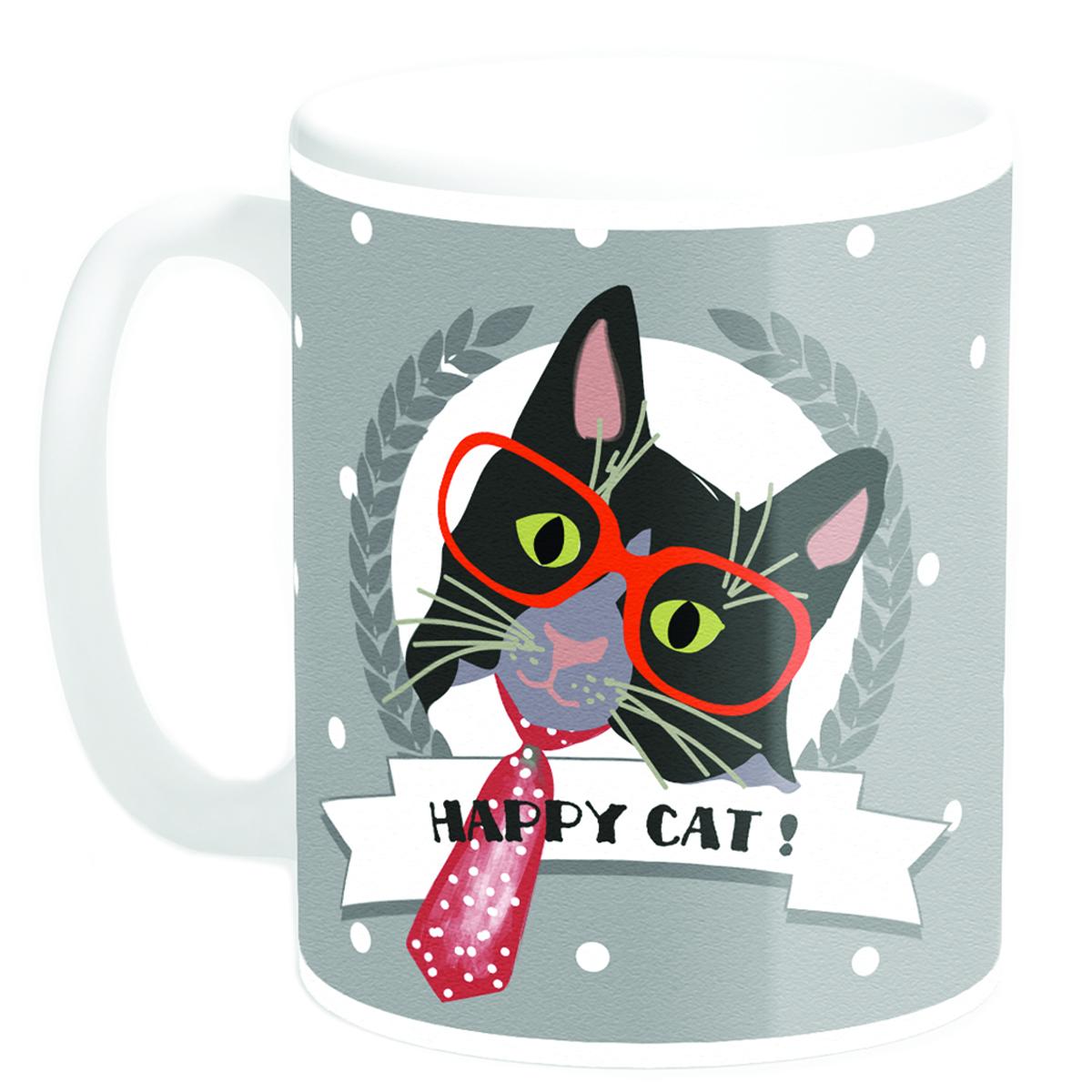 Mug céramique \'Happy Cat !\' cravate (Made in France) - 95x8 cm - [Q3381]