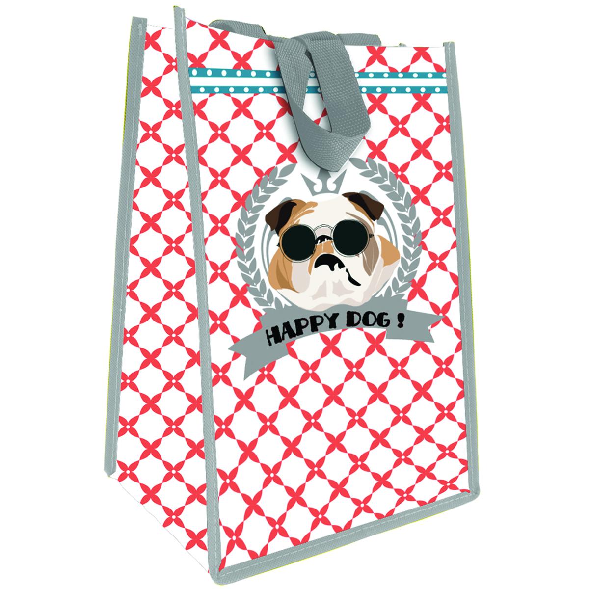 Sac Shopping \'Happy Dog !\' bouledogue - 35x25x19 cm - [Q3382]