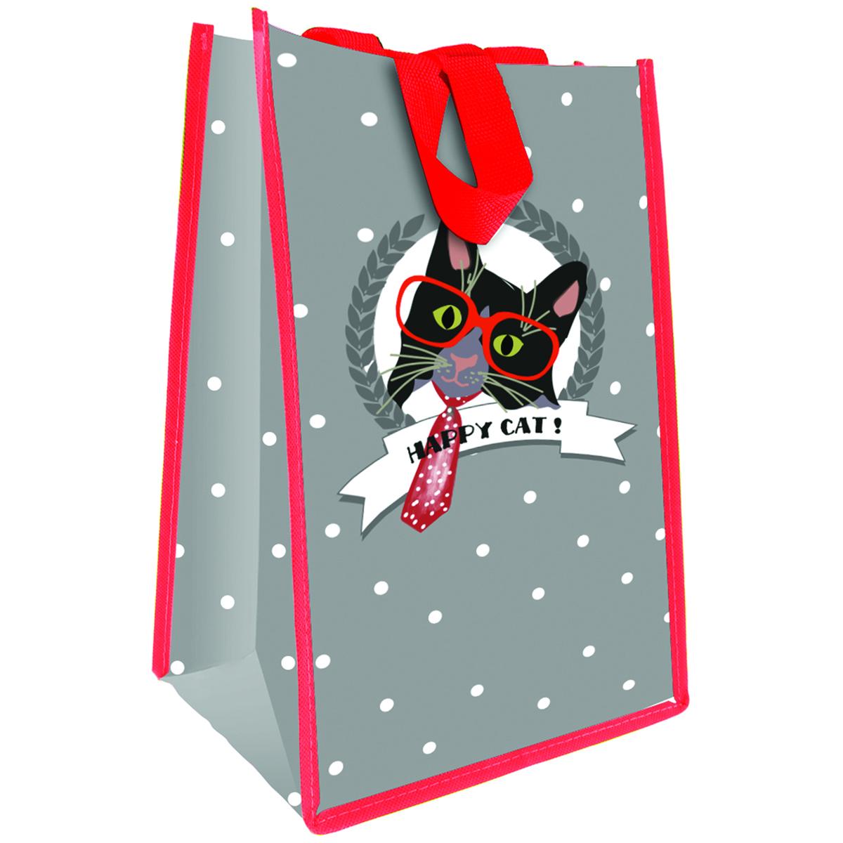 Sac Shopping \'Happy Cat !\' gris rouge - 35x25x19 cm - [Q3383]