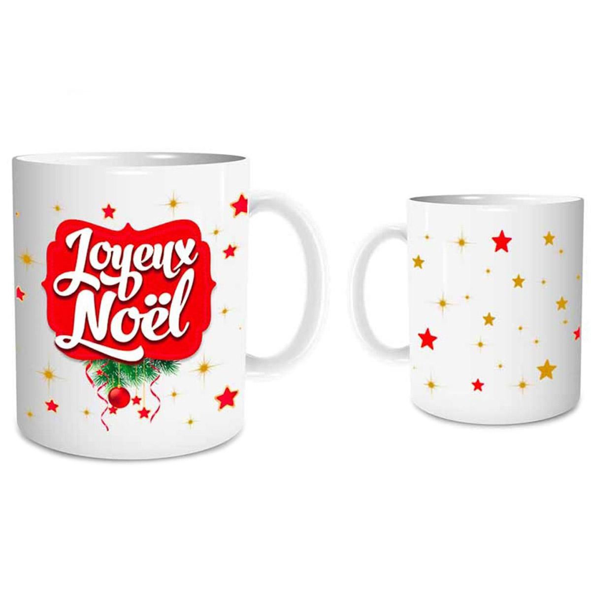 Mug céramique \'Joyeux Noël\' rouge blanc (étoiles) - 95x8 cm - [Q3539]