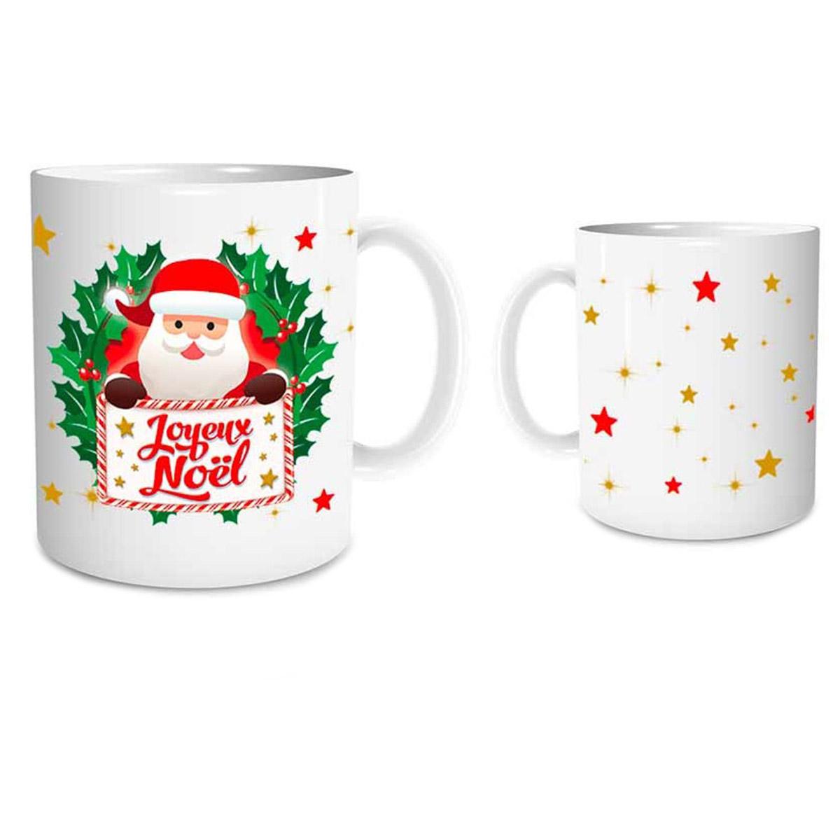 Mug céramique \'Joyeux Noël\' rouge blanc (père noël, étoiles) - 95x8 cm - [Q3540]