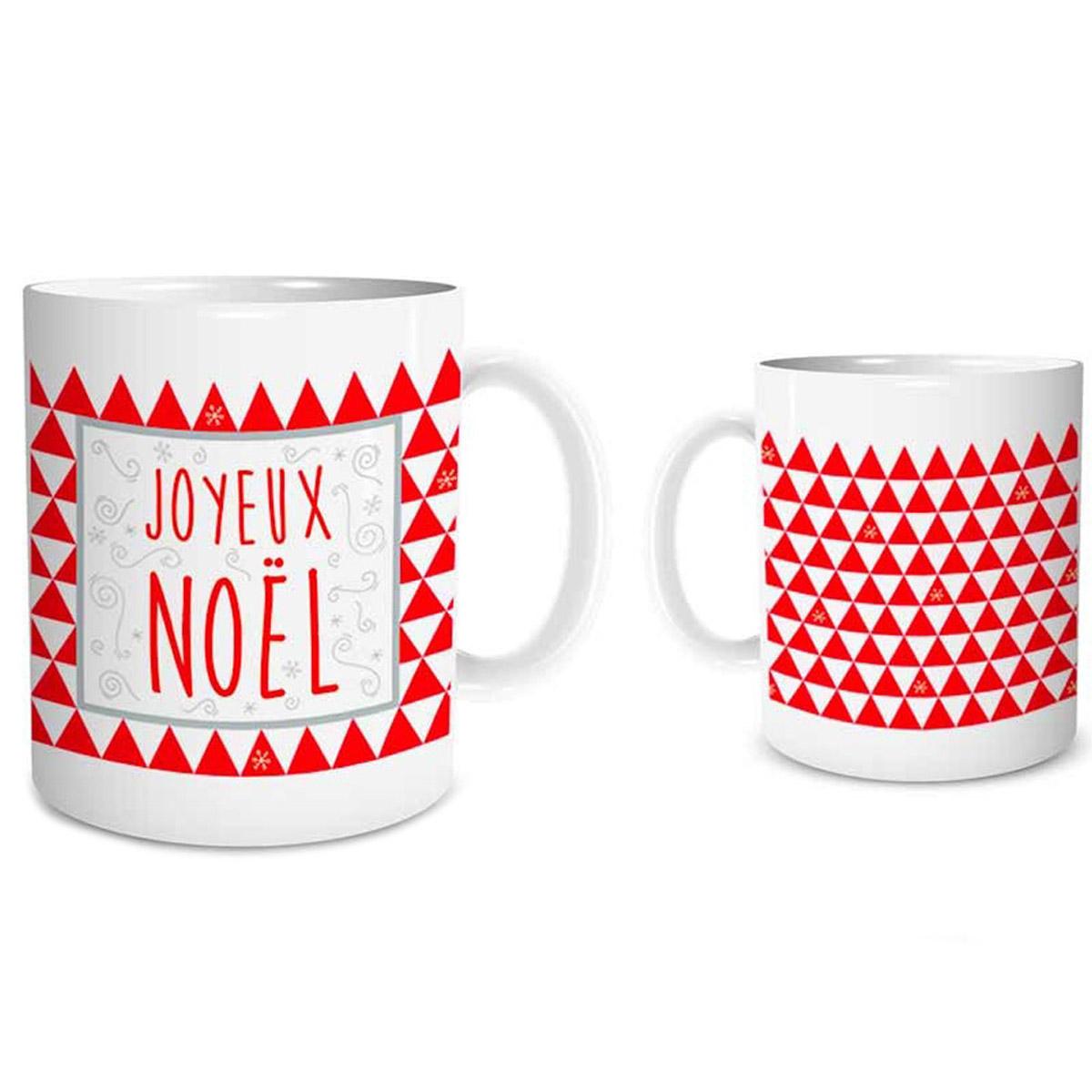 Mug céramique \'Joyeux Noël\' rouge blanc - 95x8 cm - [Q3542]