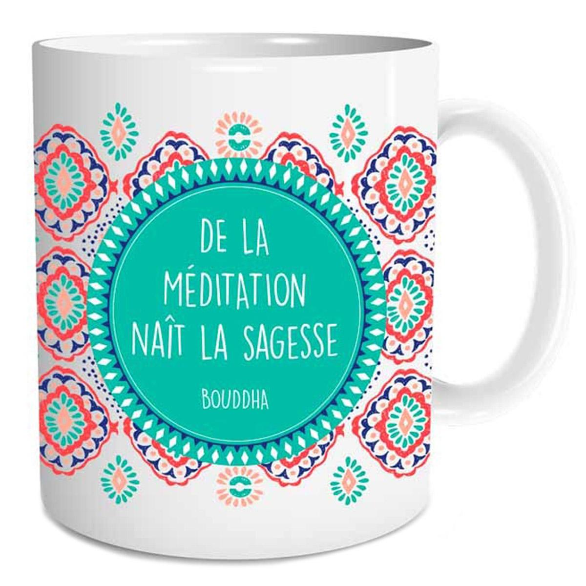 Mug céramique \'Sagesse\' (De la Méditation naît la Sagesse - Bouddha) - 95x8 cm - [Q3545]