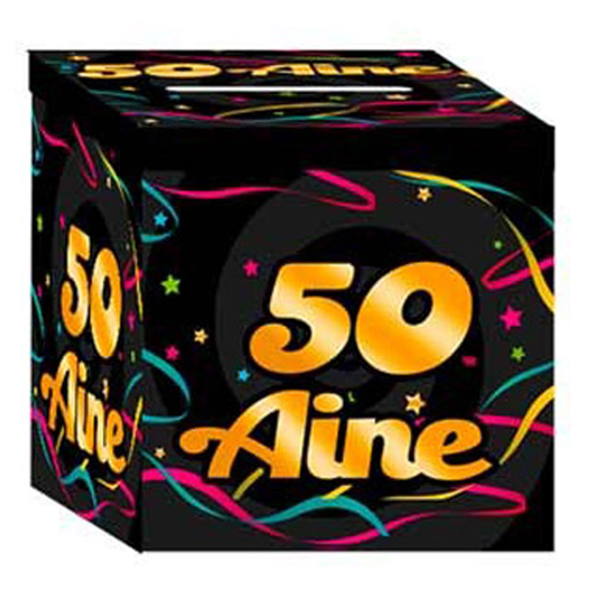 Urne anniversaire \'50 aine\' noir multicolore - 21x21x195 cm - [Q3548]