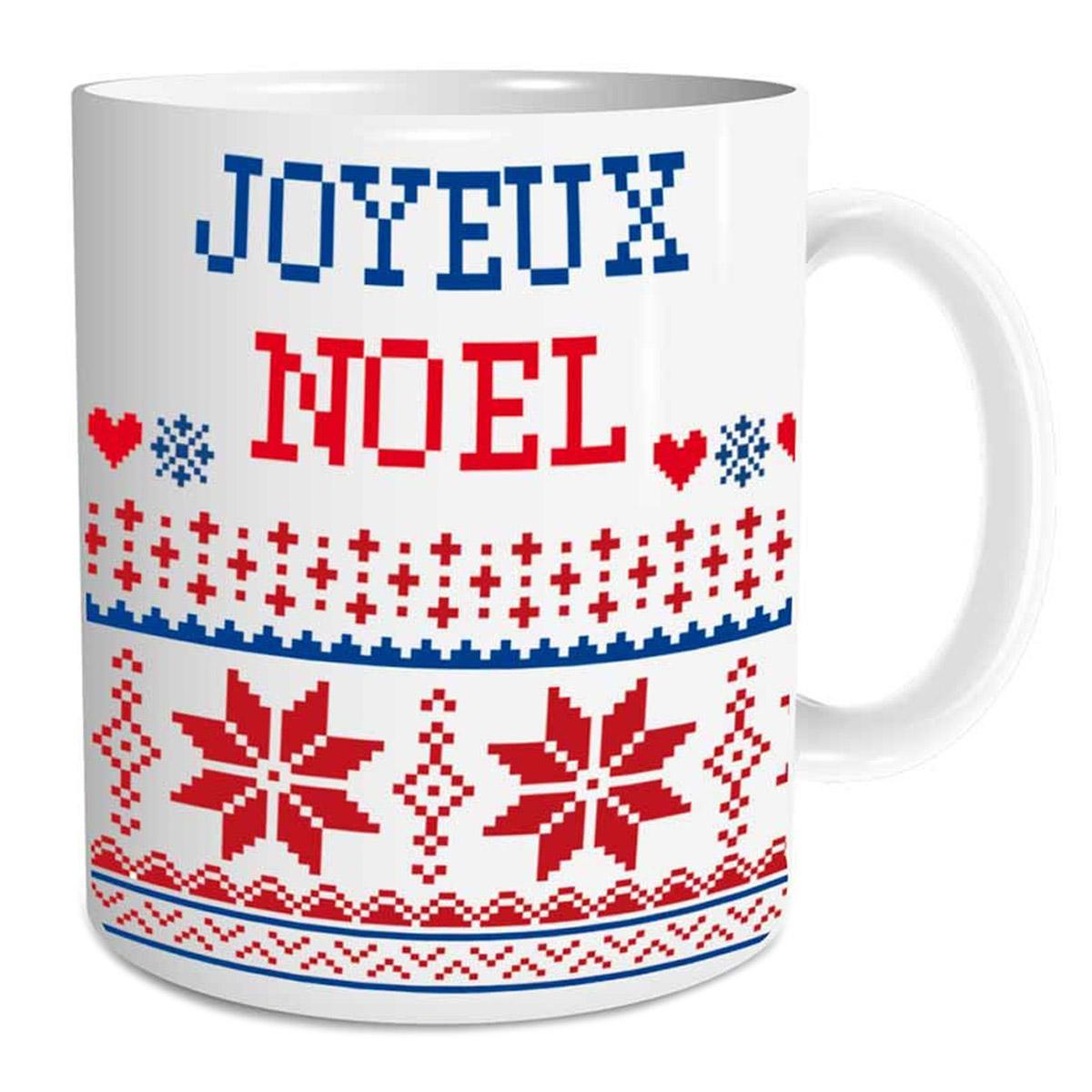 Mug céramique \'Joyeux Noël\' (tricots d\'hiver) - 95x8 cm - [Q3553]